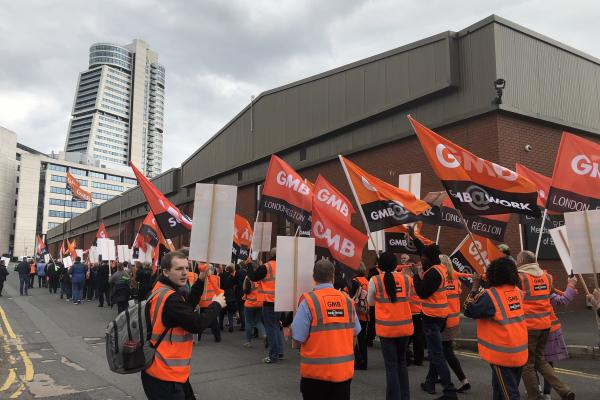 GMB march outside Asda House against new contract