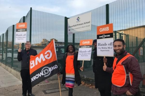 GMB hold protest at Tower Hamlets school over axing of support staff