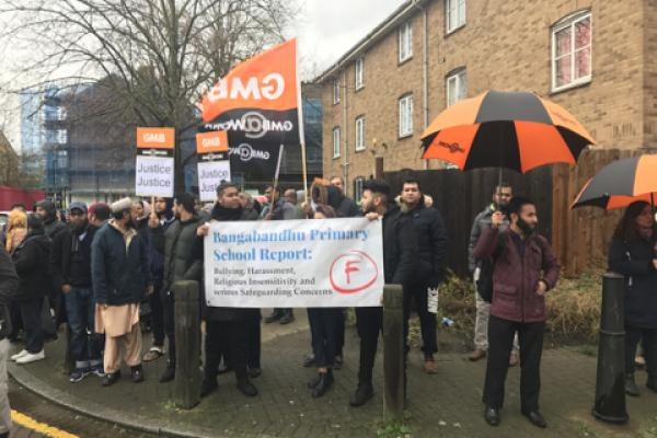 GMB London support Tower Hamlets school parents protest