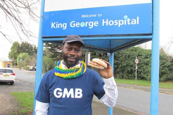 GMB union protest over bacon and egg sacking at Ilford hospital