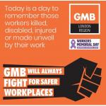 GMB support International Workers Memorial Day 2019
