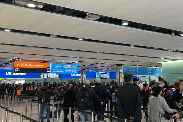 Nearly a year on and social distancing is still a problem at both departures and arrivals halls at Heathrow
